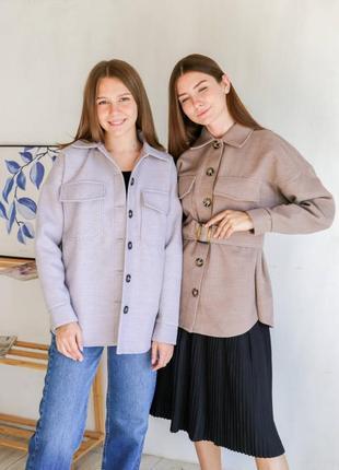Пальто-рубашка с актуальным поясом лиловое