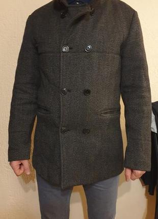 Шерстяное пальто мужское, тёплое, m,l