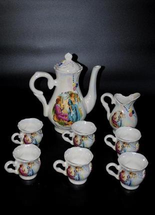 Кофейный набор «мадонна» чашки 6 шт молочник чайник на подарок винтаж