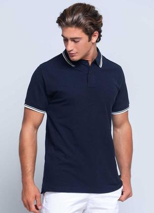 Синяя футболка поло тенниска 100% хлопок размеры