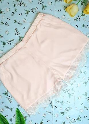 🌿1+1=3 стильные нежные персиковые шорты с кружевом simply y.a.s, размер 50 -52