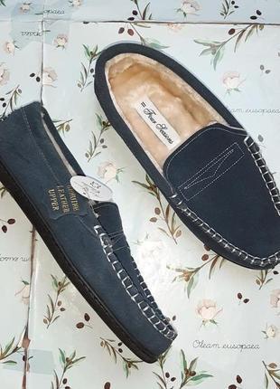 🎁1+1=3 фирменные меховые кожаные лофферы туфли мокасины из натуральной кожи, 44 размер