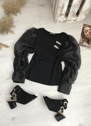 Блузка с рукавами из органзы