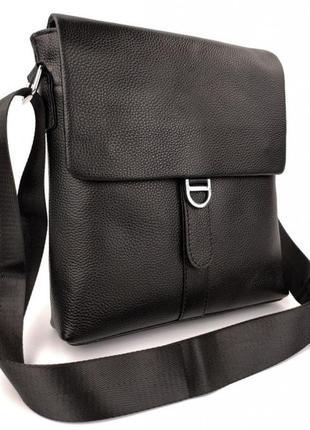 Мужская кожаная сумка через плечо черная, мужские сумки