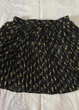 Чёрная легкая юбка с ананасами