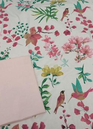 """Двусторонний двуспальный комплект постельного белья """"экзотик"""" в цветы и птички"""