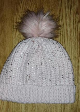 Шапка на девочку шапочка демесезоная вязаная с помпоном