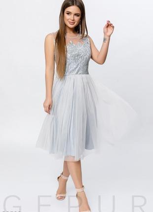 Вечернее воздушное небесное платье