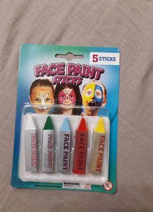 Краска для лица в карандашах. набор 5 штук