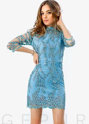 Оригинальное вечернее платье-сетка
