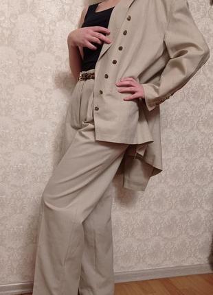 Шикарный винтажный новый костюм тройка из крапивы l xl