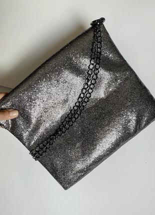 Серебристая сумочка-клатч hello kitty
