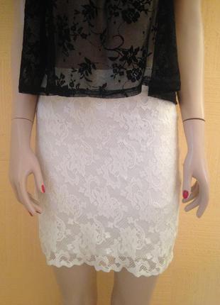 Белая гипюровая юбка кружевная юбка