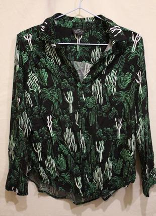 Яркая рубашка-блуза с принтом кактусы вискоза