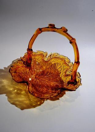 Старинная конфетница ваза корзинка стеклянная хрустальная янтарная