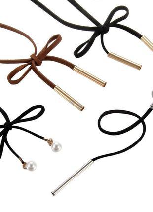 Бежевый замшевый шнурок чокер колье украшение на шею много бижутерии