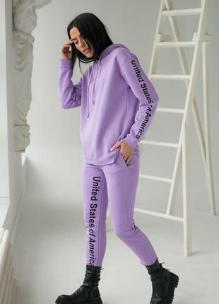 Фиолетовый коттоновый костюм на флисе (худи + джоггеры) от crep (бирка!)