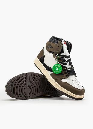 Кроссовки кожаные, кросівки шкіра air jordan 1 hi og & travis scott