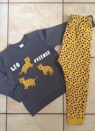 Теплий костюмчик з леопардами h&m p.104