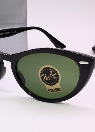 Ray ban очки солнцезащитные кошечки черные с зелёными линзами стекло