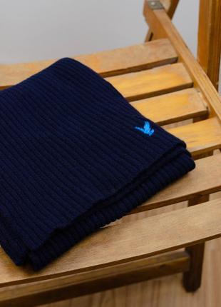 Lyle&scott унисекс шерстяной длинный большой темно синий шарф с логотипом мужской, женский