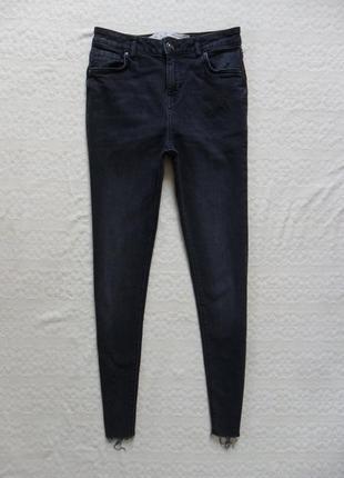 Стильные джинсы скинни с высокой талией и необработаным низом denim co, 8 размер.