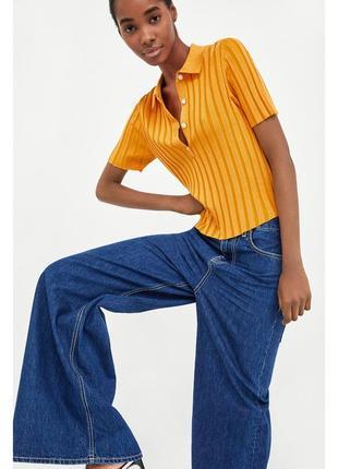 Zara укороченная вязаная рубашка-поло в рубчик