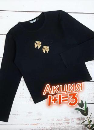 1+1=3 базовый черный свитер гольфик с рыбками redherring, размер 48 - 50