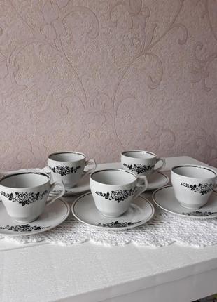 Кофейный сервиз, сервіз кавовий, для кофе, 5 персон, винтаж, барановка