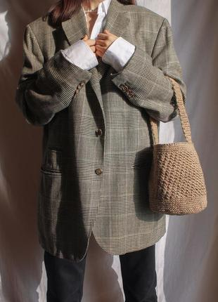 Серый oversized шерстяной пиджак/жакет в клетку