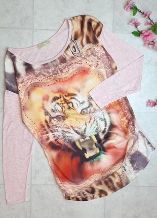 1+1=3 нежно-розовый свитер лонгслив для беременных с тигром и стразами, размер 46 - 48