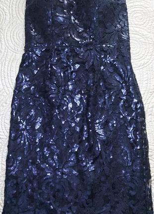 Платье бюстье в пайетку. темно-синее.