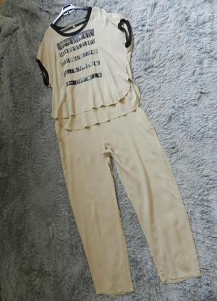 Летний костюм батал из натуральной ткани штапель
