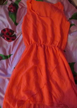 Платье шифоновое , оранжевое платье, яркое платье, легкое платье