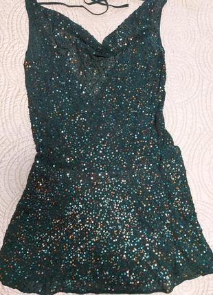 Туника- платье в пайетку. натуральный шелк.