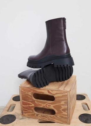 Трэндовые ботинки сапожки ботильоны на платформе zara-оригинал, натуральная кожа
