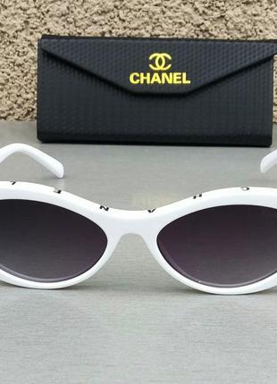 Chanel очки женские солнцезащитные стильные узкие овальные белые