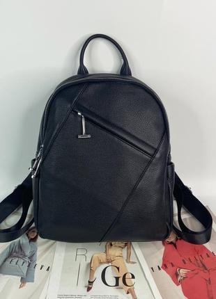 Женский кожаный городской рюкзак чёрный polina & eiterou жіночий ранець шкіряний