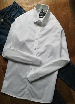 Базовая белая рубашка свободного кроя, сорочка оверсайз, бойфренд