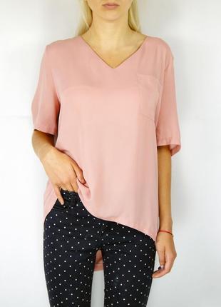 Розовая шифоновая блуза с удлиненной спинкой и замочком на всю спину new look