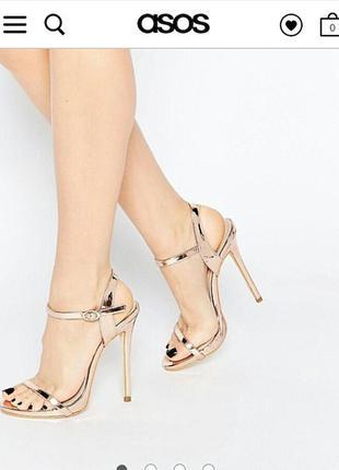Золотистые босоножки на каблуке public desire sparra