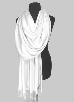 Палантин шарф кашемир белый шерсть кашемировый pashmina original однотонный новый