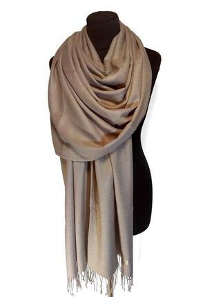 Палантин шарф кашемир бежевый кофейный кашемировый pashmina original однотонный теплый