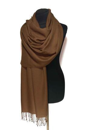 Палантин шарф кашемир коричневый шерсть кашемировый pashmina original однотонный новый