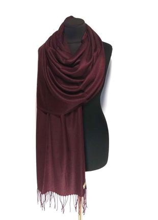 Палантин шарф кашемир бордовый марсала кашемировый pashmina original однотонный новый