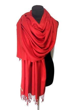 Палантин шарф кашемир шерсть красный кашемировый pashmina original однотонный новый