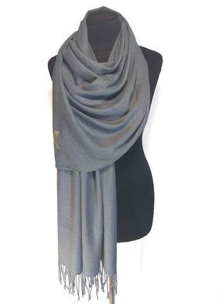 Палантин шарф кашемир серый шерсть кашемировый pashmina original однотонный теплый новый
