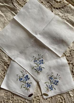 Винтаж! 💯 % льон  белоснежный набор эксклюзивных платков вышивка ручная работа