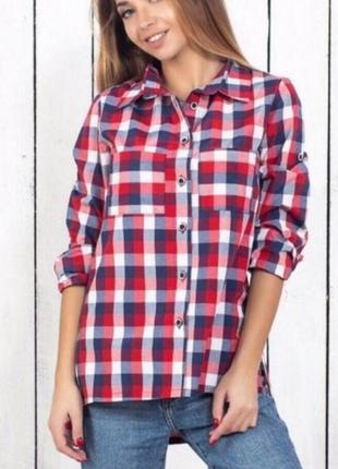 Рубашка в клетку свободного кроя, сорочка оверсайз, бойфренд, клетчастая рубашка