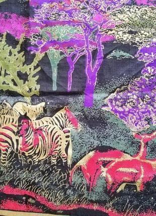 Эксклюзивный шелк платок картина африканская савана,100%тайский шёлк,винтаж.